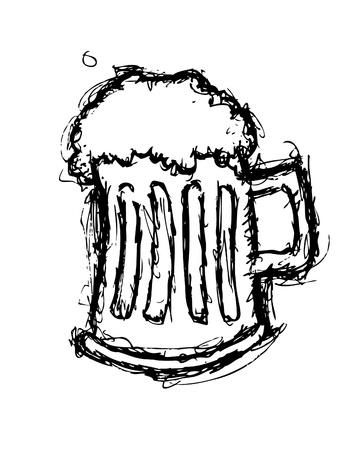 pint glass: Grunge beer doodle Illustration