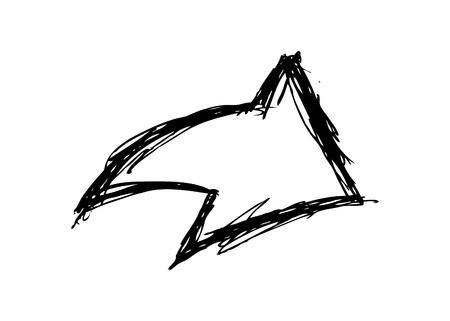 flecha derecha: Grunge flecha garabato