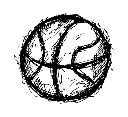 hand baskets: Grunge basketball doodle Illustration