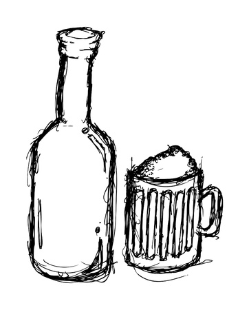 draft beer: Grunge beer doodle Illustration