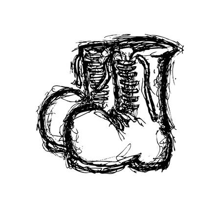 Grunge boots doodle Illustration