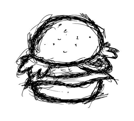 cheese burger: Hand drawn hamburger Illustration