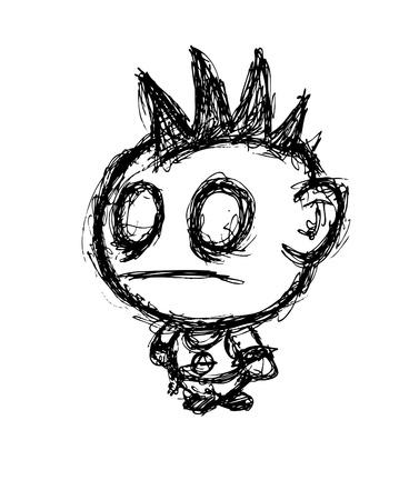 punk hair: Hand drawn punk rocker
