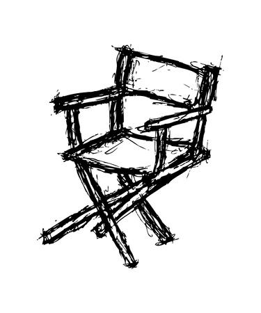 Hand drawn director chair Illustration