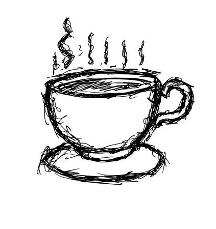커피 손으로 그린 컵