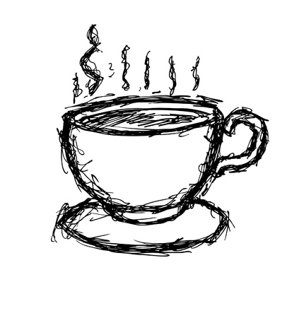 Hand drawn cup of coffee