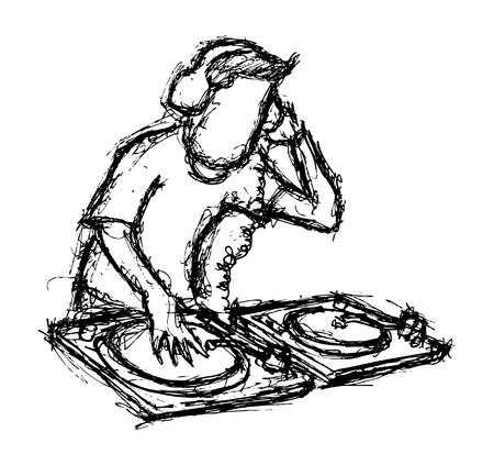 disk jockey: Disegnata disk jockey a mano Vettoriali