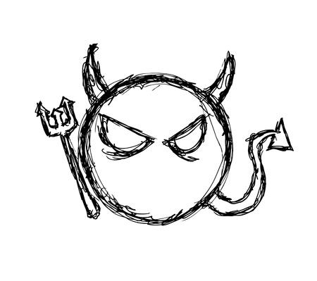 Hand getrokken duivel symbool