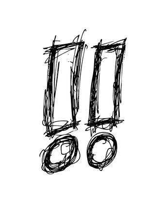 exclamation mark: Dibujado a mano signo de exclamación Vectores