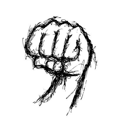 Hand drawn fist