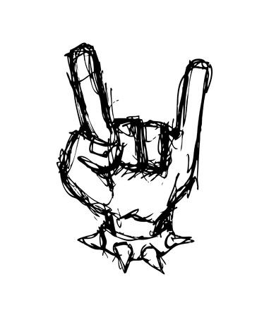 Hand drawn gesturing hand