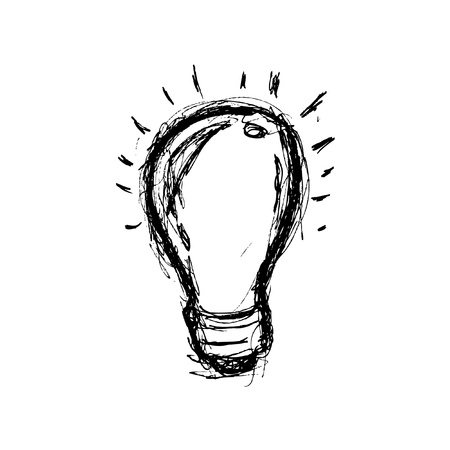 Hand drawn light bulb Vector