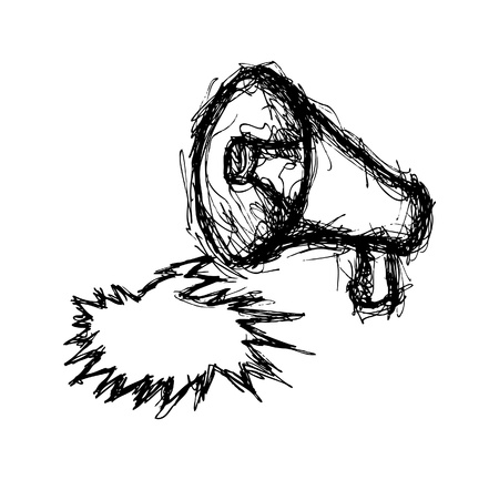 hand drawn megaphone Vector