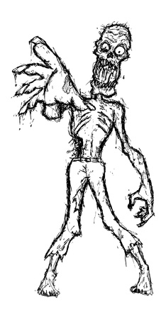 hand drawn zombie Vector
