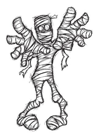 mummie: handgetekende zombie