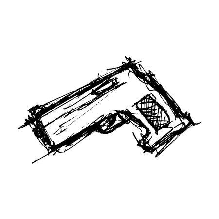 hand drawn gun Vector