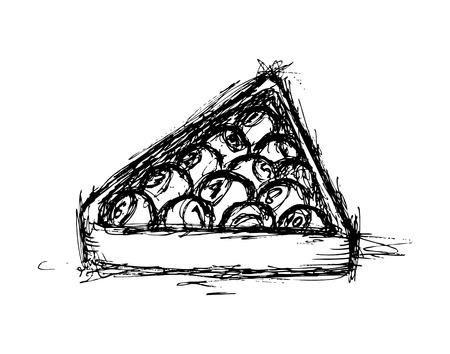 bola de billar: pool bola mano dibujada