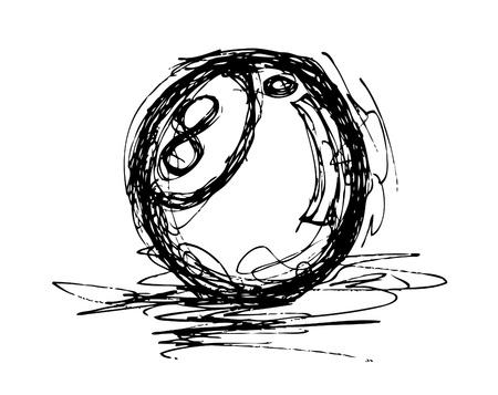 8 ball billiards: hand drawn pool ball
