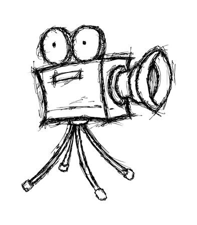 Hand gezeichnet Videokamera Standard-Bild - 21523599