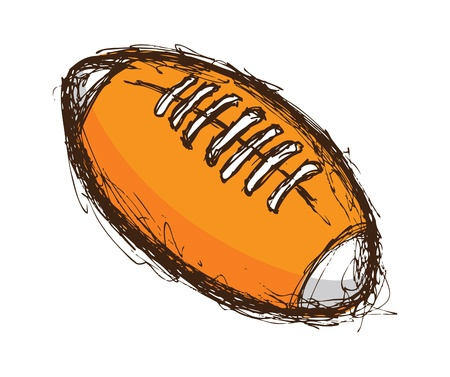 hand drawn colored rugby ball Vector