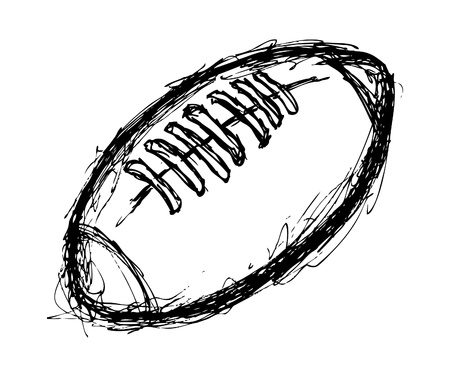hand drawn rugby ball Vector