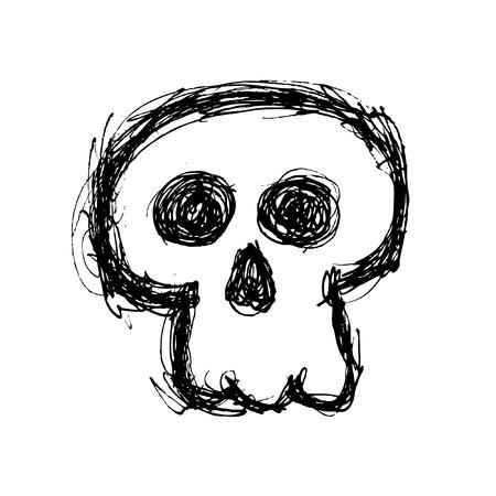 scull: hand drawn skull Illustration