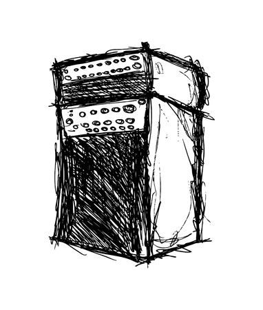 hand drawn amplifier Vector