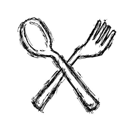 hand drawn fork and spoon Vector