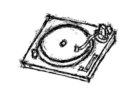 record player: hand drawn turn table