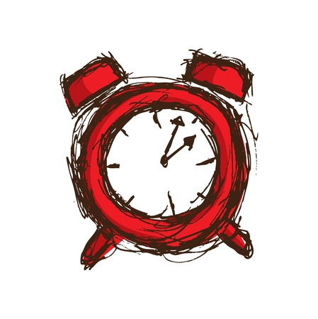 hand drawn red clock