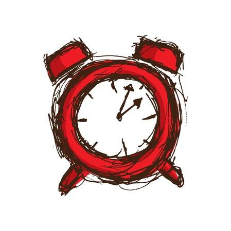 hand drawn red clock