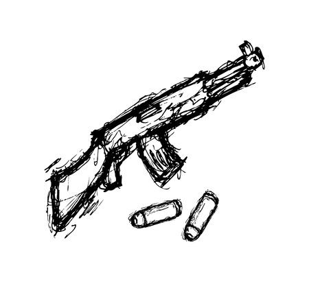 kalashnikov: hand drawn gun Illustration