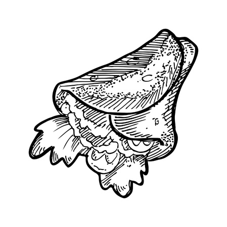 hand drawn burritos Vector