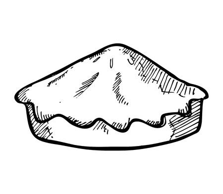 手描き下ろしパイ ケーキ  イラスト・ベクター素材