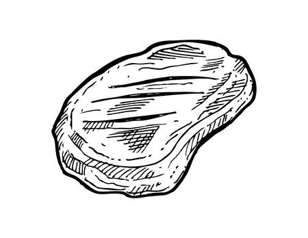 t bone steak: Hand drawn meat