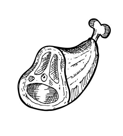 t bone steak: Hand drawn raw meat