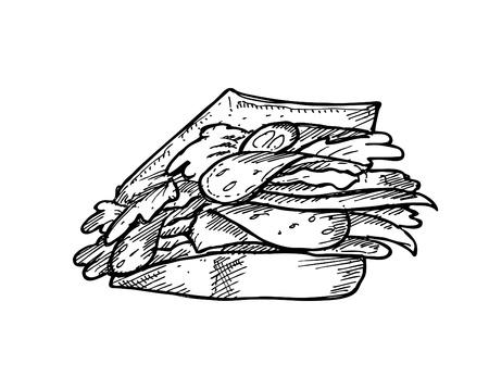 Hand drawn sandwich Vector
