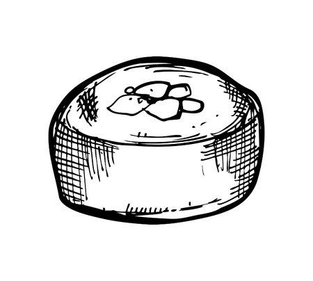 hand drawn sushi roll Vector