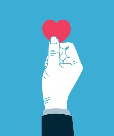 health care funding: hand giving heart symbol Illustration