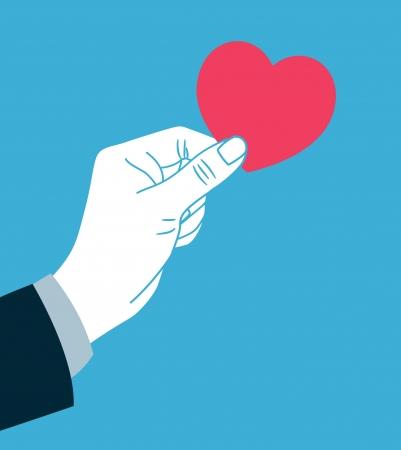 hand giving heart symbol Vectores