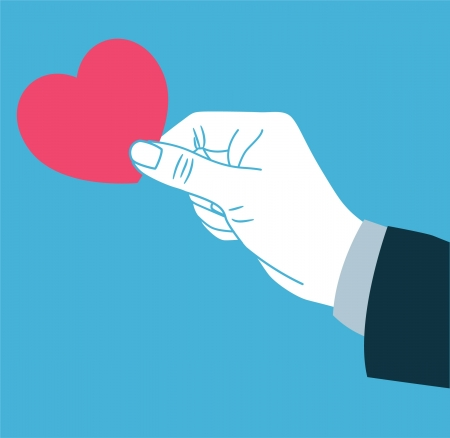 charitable: hand giving love symbol
