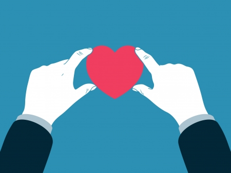 health care funding: hand giving heart symbol