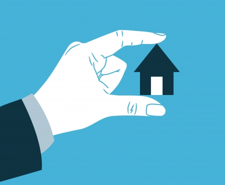 small: hand holding small house  Illustration