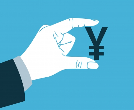 hand with yen symbol Stock Vector - 21390213