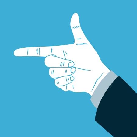 hand gun: Hand making direction sign