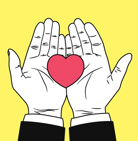 health care funding: vintage hand giving heart symbol
