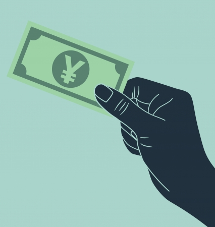 man holding money: hand giving yen money