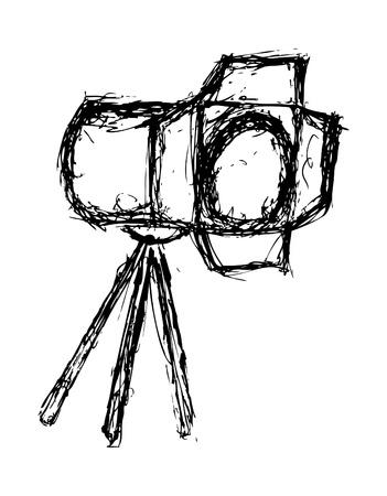 Lighting equipment doodle isolated on white background