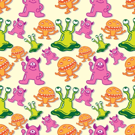 Cartoon monster seamless pattern  Stock Vector - 21390251