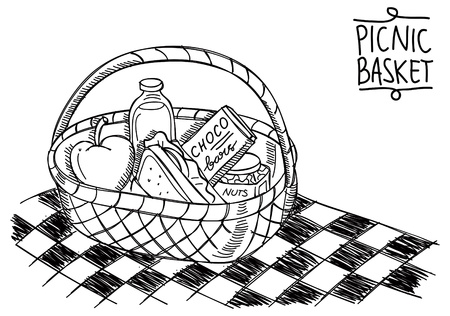 apples basket: picnic basket in doodle style